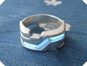 US9.5 Ring XXI: Tritium (Silver) in Polished Silver