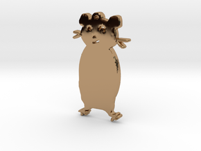 Hamster Standing Necklace Pendant in Polished Brass