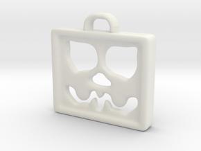 Face Pendant in White Natural Versatile Plastic