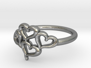 Hearts Ring in Natural Silver