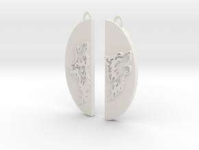 Wolf Pair in White Natural Versatile Plastic