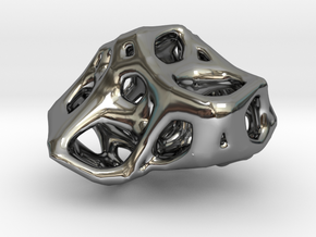 Organic Voronoi Pendent in Fine Detail Polished Silver