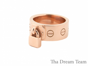 Solid PadLock Ring Size 5 in 14k Rose Gold Plated Brass