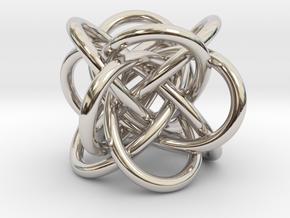 Tetraknot Pendant in Rhodium Plated Brass