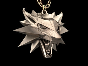 The Witcher 3 Medallion (Custom Design) in Polished Bronzed Silver Steel