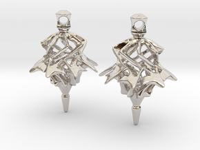 Surreal Lantern Earrings - Standard Pair in Rhodium Plated Brass