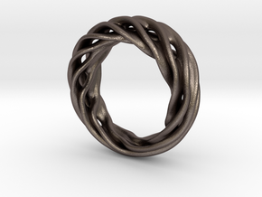 Fluid Wave Ring in Polished Bronzed Silver Steel