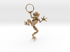 Frog Hug Pendant in Polished Brass