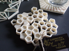 Almost Beehive - 3D Printed Geometrical Coaster in White Strong & Flexible