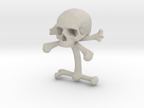 Cufflink Skull & Bones (just one) in Sandstone