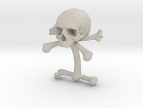 Cufflink Skull & Bones (just one) in Natural Sandstone