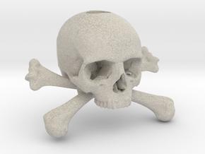 35mm 1.4in Keychain Skull & Bones Bead in Natural Sandstone