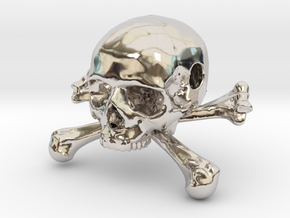 35mm 1.4in Bead Skull & Bones Pendant Crane in Rhodium Plated Brass
