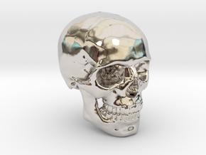 18mm 0.7in Human Skull Crane Schädel че́реп in Rhodium Plated Brass