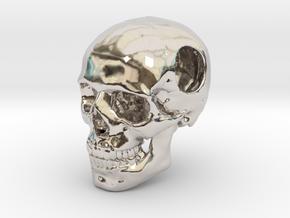 18mm .7in Bead Human Skull Crane Schädel че́реп in Rhodium Plated Brass