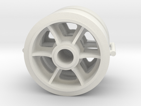 Two 1/16 scale 6 spoked M4 Sherman wheels  in White Natural Versatile Plastic