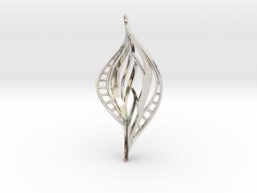 DNA Leaf Spiral (right) in Rhodium Plated Brass