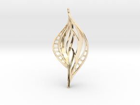 DNA Leaf Spiral (right) in 14k Gold Plated Brass