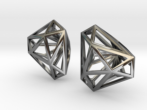 Twisted Triangle Earrings in Fine Detail Polished Silver