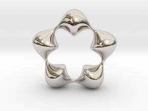 0058 Antisymmetric Torus (p=5.0) #007 in Rhodium Plated Brass