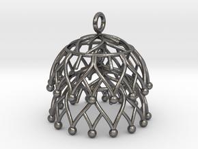 Lotus Jhumka - Indian Bell Earrings in Polished Nickel Steel