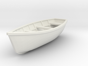 Wooden boat. Scale O (1/43) in White Strong & Flexible