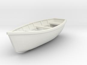 Wooden boat. Scale O (1/43) in White Natural Versatile Plastic