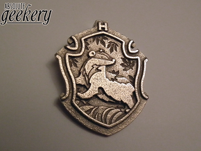 Hufflepuff House Crest - Pendant LARGE in Stainless Steel