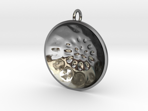 "Low Tenor ""surface"" steelpan pendant, M in Fine Detail Polished Silver"