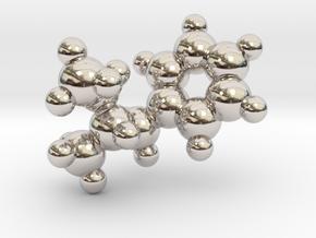 Methamphetamine molecule pendant in Rhodium Plated Brass