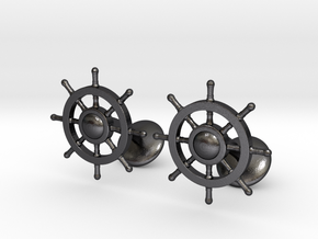 Ship Rudder Cufflinks in Polished and Bronzed Black Steel