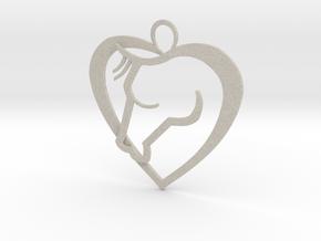Heart Horse Pendant in Natural Sandstone