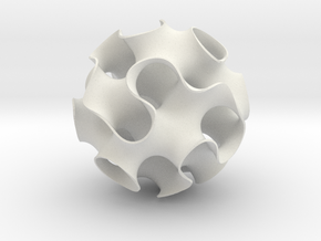 Gyroid Sphere in White Natural Versatile Plastic