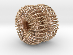 Double Torus Atomic/Planetary/Galactic Field 50mm in 14k Rose Gold Plated Brass