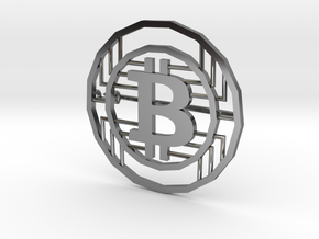 Bitcoin Pin in Fine Detail Polished Silver