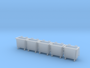 HO scale(1:87) Trash bin with wheels in Smooth Fine Detail Plastic