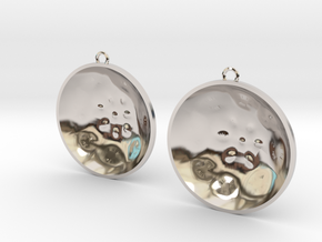 "Double Tenor ""surface"" steelpan earrings, L in Rhodium Plated Brass"