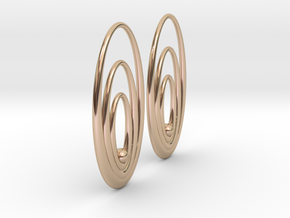 Three Torus Earrings in 14k Rose Gold Plated Brass