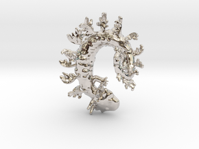 Leafy Salamander  in Rhodium Plated Brass