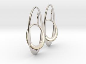 Three-Torus V1 Earrings in Rhodium Plated Brass