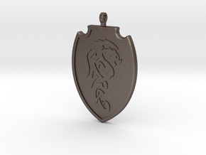 Dragon Shield Pendant 001 in Polished Bronzed Silver Steel