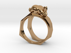 Together Apart Ring in Polished Brass: 4 / 46.5