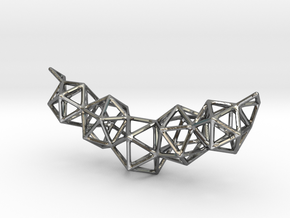 Icosahedron Frame Geometry Pendent in Polished Silver
