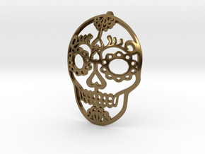 Day of the Dead Skull Pendant in Polished Bronze
