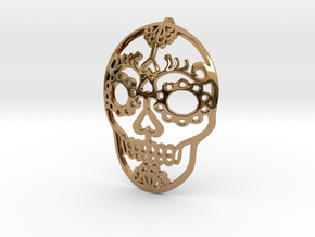 Day of the Dead Skull Pendant in Polished Brass