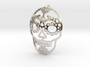 Day of the Dead Skull Pendant in Rhodium Plated Brass