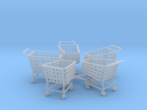 5 Miniature Shopping Trolleys (Linked) in Smooth Fine Detail Plastic
