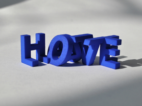 FontFlip LOVE-HATE in Blue Processed Versatile Plastic