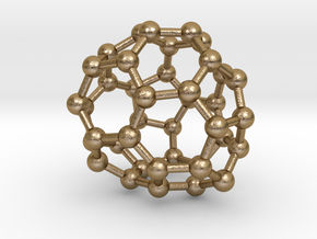 0146 Fullerene C40-34 c1 in Polished Gold Steel