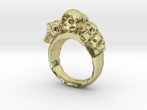 Pile of Skulls Ring Mens Size 20 in 18k Gold Plated Brass